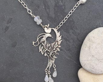 Firebird, phoenix, bird of paradise, Necklace - sterling silver and moonstone 'Ice'