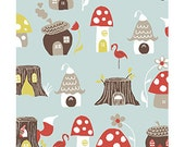 Organic Cotton Fabric -Elvendale Fabric from Monaluna - Mushrooms, fox, tree stumps, gnome Red, Sky Blue and Gray