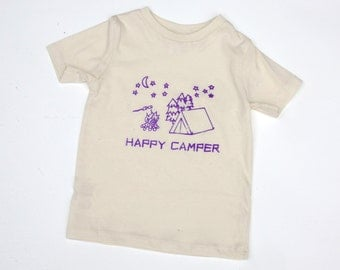 Happy Camper Organic Natural 2T 4T or 6T SHORT Sleeve shirt with your choice of ink color hand-drawn and printed Tent,  campfire and s'mores