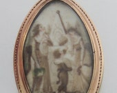Antique (Dated 1790) Georgian Hand Painted Sepia Painting Mourning Pendant Rose Gold