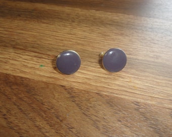 vintage screw back earrings blue circles