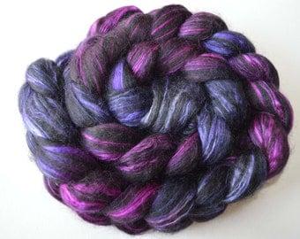 Hand Dyed Alpaca Merino Silk Spinning Roving  Felting Fiber
