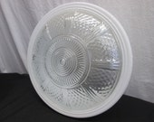 Vintage Ceiling Light Cover, White and Clear Glass