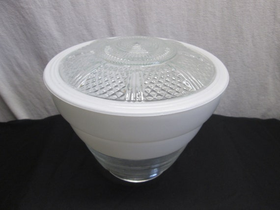 Ceiling light cover only : Vintage ceiling light cover white and clear glass by