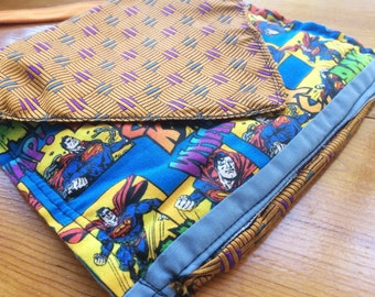 SUPERHERO Purse with Necktie Overlay and Long Strap - A Delightful Mix of Vintage and New Materials