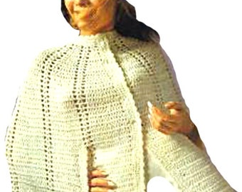 Outlander Cape Claire's Poncho and Beret Vintage Crochet Pattern Vintage  PDF Pattern Retro Boho Hippie Fashion Is not a finished product.