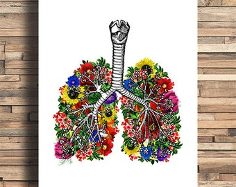 Lung With Flowers Illustration, Human Anatomy, Kitchen, Bathroom, Nursery, Chic, Bedroom, College Dorm Room Decor, Poster, Giclee Art Print