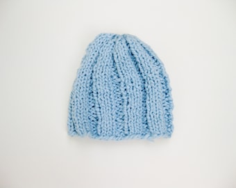 Organic cotton baby hat blue hand knitted
