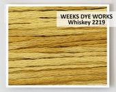 WHISKEY 2219 Hand-dyed Embroidery Floss : Weeks Dye Works 6- strand WDW overdyed thread cross stitch needlepoint