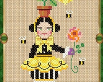 PDF cross stitch patterns : Mrs. Winkie Wizard of OZ Brooke's Books story time e-pattern hand embroidery instant download