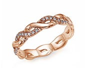 Gold Natural Diamonds Band Ring, 14K Rose Gold Ring, Design Wedding Band, Valentines Gift, Sizable 3 4 5 6 7 8 9 10 11