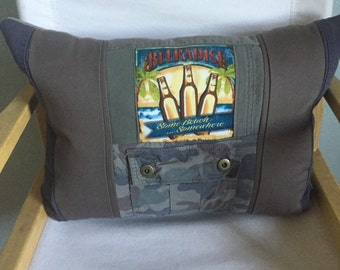 Khaki pillow - Man Cave Decor - Father's Day - Tan, Olive Green, Camo Decor - Beer Lovers Pillow