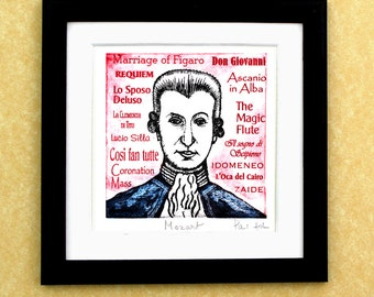 Wolfgand Amaseus MOZART - a portrait art print of the great Austrian composer