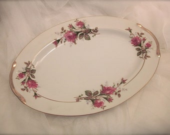 Vintage pink rose oval serving platter, rose motif serving platter, shabby chic pink rose serving platter