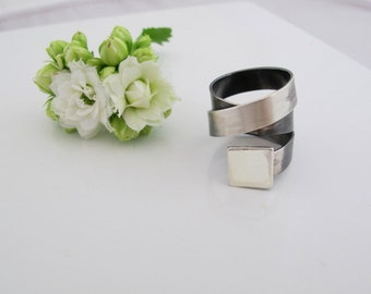 Wide band ring Tatoo, made to order, Modern , contemporary, simple gift for her