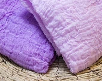 Premium Cheesecloth Baby Wraps Bright Orchid Purple and Light Orchid Purple Long Hand Dyed Cheesecloth Baby Wraps Photo Prop Swaddle Wrap