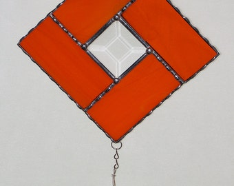Stained Glass Suncatcher - Bright Orange Geometric Diamond Design with Clear Bevel and Crystal