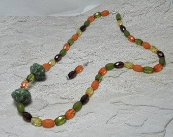 Autumn Acorn Squash Necklace Set