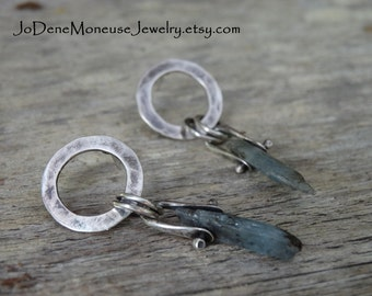 Sterling silver pinned hand fabricated Kyanite earrings, RESERVED for K, healing crystals,one of a kind,artisan metalsmith earrings