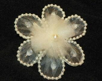 Hair Fascinator Ivory Flower Barrette wedding hair accessory prom hair accessory bridal head piece ivory barrette flower barrette