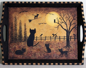Folk Art Halloween Wood Tray  Mother Cat and her Kittens Watch Sister Kitty Flying Broom at Twilight, Full Moon, Bats, Crows, MADE TO  ORDER