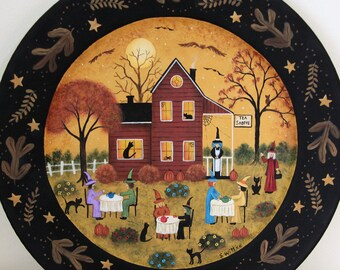 Halloween Folk Art Primitive Hand Painted Plate, Witches Tea Party, Saltbox House, Black Cats Bats, Fall Decor, Autumn Leaves MADE TO ORDER