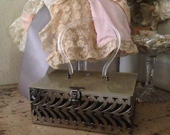 Vintage Silver Plated Basket Purse Tote Bag