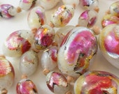 FOIL GLASS NECKLACE -  Lampwork Beads - Antique  Czech or Venetian No.00740 hs