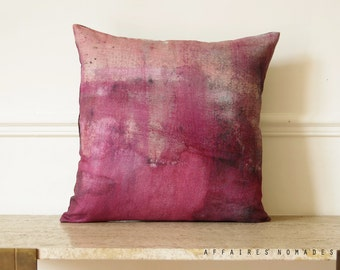 "Modern vintage inspired decorative Linen Pillowcase square 18""x18"".  Pink bubble gum  .. / RETRO-MODERN"