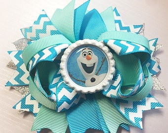 """Frozen Olaf Chevron turqouise Inspired Hair Bow Grossgrain Loopy Boutique Handmade girls 4 1/2 """" 24M 2T 3 t 4 t 5 6 7 8 10 12"""