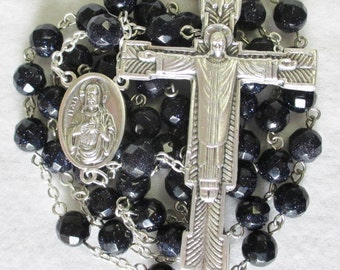 Handmade Catholic Rosary, Faceted Midnight Blue Goldstone, Sacred and Immaculate Heart Center, Large Christ the Redeemer Crucifix