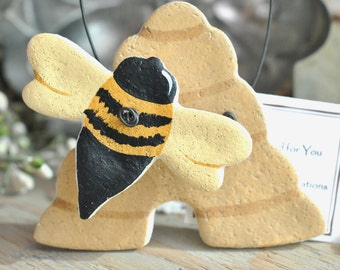 Honey Bee and Hive Salt Dough Hanging Ornament Bumble Bee Gift Idea