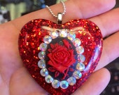 Blood Red Rose Cameo Sweet Ruby Red Heart Shaped Resin Pendant with Spikes
