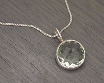 "Prasiolite Necklace, 10ct round faceted green amethyst (16"" chain) - Token Pendant"