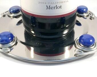 Beaded wine coaster, wine bottle holder, wine bottle coaster, wine lover, hostess gift, housewarming gift, stainless steel coaster, bareware