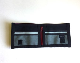 Vegan Wallet with Coin Pocket - Black and Oxblood
