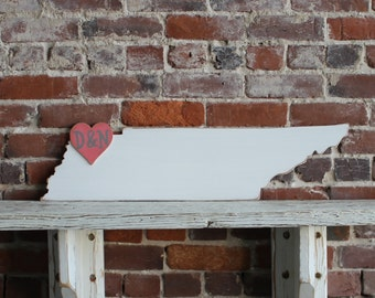 Custom Wooden State Wedding Guestbook - 2 ft Tennessee in Distressed White - any state/country available in many colors