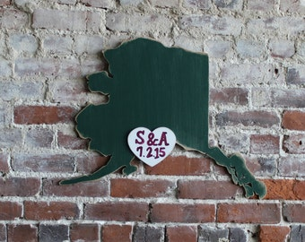 Custom Wooden State Wedding Guestbook - 2 ft Alaska in Distressed Forest- any state/country available in many colors