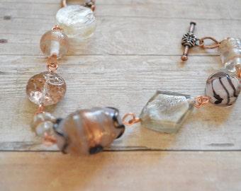 Copper and Cream Lampwork Bead Bracelet, Lampwork Bead Bracelet, Lampwork Bead Jewelry