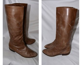 Tall Tan Genuine Leather Vintage Boots Marmolada Italy Distressed VTG 80s Slip On Fashion Equestrian Boots