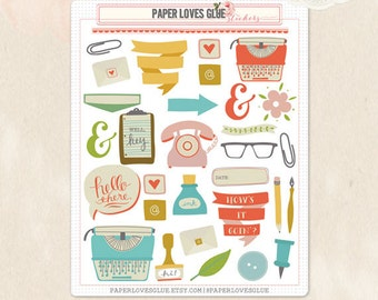 32 Happy Mail Stationery Planner Stickers, Calendar Sticker, Planner Accessories, Erin Condren, Filofax, Project Life