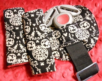 Mickey Damask Infant/Toddler Reversible Car Seat Strap And Belly Buckle Cover