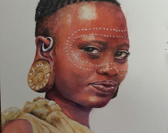 Surma Woman, Ethiopia, Art Cards with Envelope, hand signed