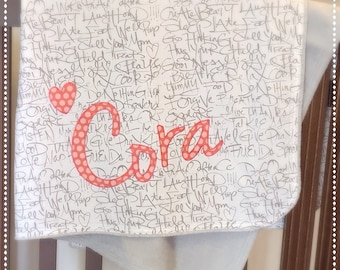 Baby Name Blanket  Personalized Modern Minky Style Blanket  Text Print in Gray  Coral Name Applique  Stroller Blanket  Nursing Cover