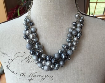 Gray cluster Pearl necklace, textured Pearl necklace, chunky pearl necklace, bridesmaid jewelry