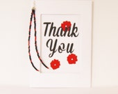 Hand painted Thank You card with red flowers and red and black beads, Mixed media greeting card, Art card