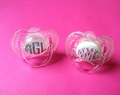 Monogrammed Pacifier-  personalized baby gift, baby girl gift, baby girl gift