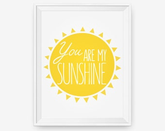 SALE 20% OFF You are my sunshine, Nursery room decor, Children Wall Art, Custom wall art