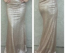 Matte Gold Champagne Maxi Skirt- Gorgeous high quality sequins- Long sequined skirt - S M L XL, Custom (Handmade in LA!) Ships asap!