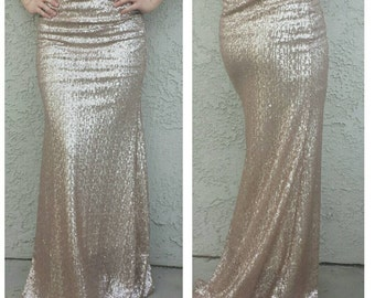 SALE til 11/23 Matte Champagne Maxi Skirt - Gorgeous high quality sequins - Long skirt - S M L XL (Handmade in LA!) Ships asap!